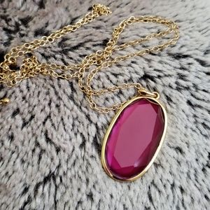 Avenue Long Gold and Dark Fuchsia Jewel Necklace